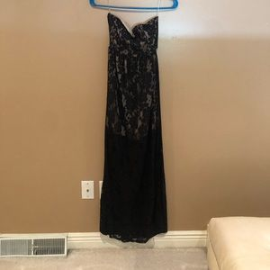 Black lace with beige lining dress with open back
